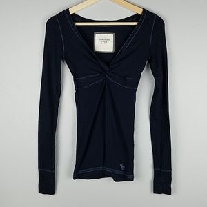 Abercrombie & Fitch Navy Blue Long Sleeved Top